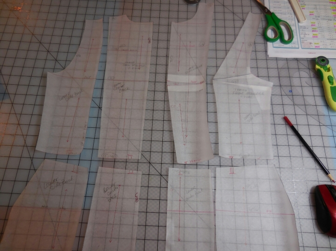 Ready to cut out of my muslin...but remember to add seam allowance :)
